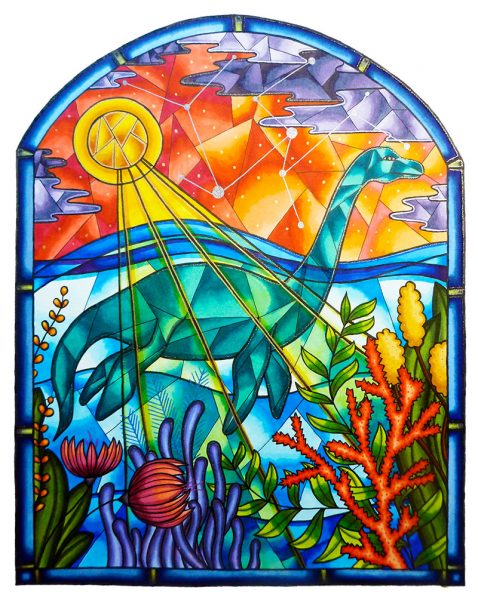 Plesiosaur-Stained-Glass
