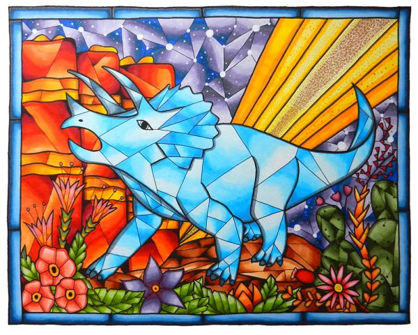Triceratops-Stained-Glass